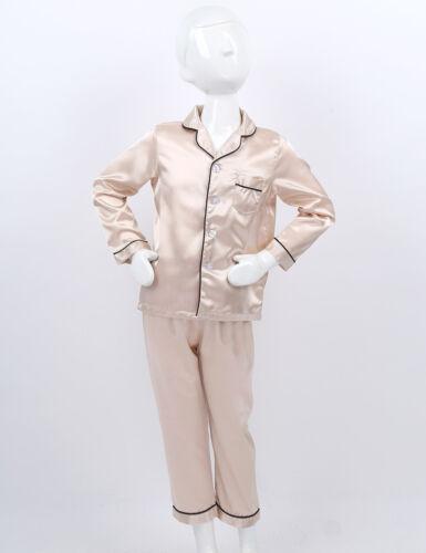 Kinder Zweiteiler Schlafanzug Pyjama Set Langarm Hemd mit Lange Hose Nachtwäsche