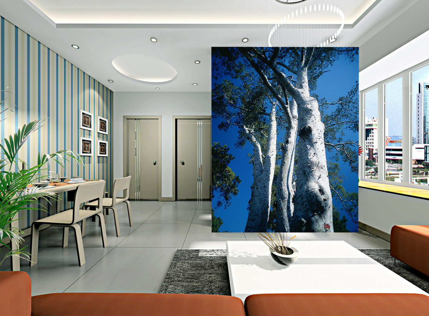 3D White Birch Sky 54 Wall Paper Wall Print Decal Wall Deco Indoor Mural Summer