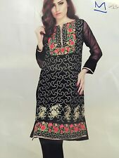 Needle And Expressions Embroidered Chiffon Fully LinnedKurti W/ Pants Black Sz.M