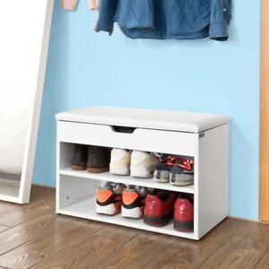 Sobuyarmario Zapatero taburete Puff caja Banco estante zapato blanco Fsr25-w es