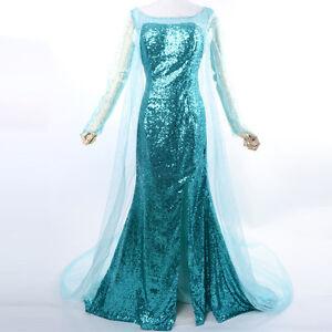 Image is loading Deluxe-Frozen-Elsa-Costume-Ladies-Princess-Snow-Queen-  sc 1 st  eBay & Deluxe Frozen Elsa Costume Ladies Princess Snow Queen Cosplay Custom ...