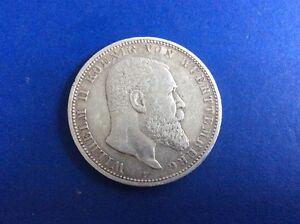 Silber Münze Fünf Mark Wilhelm Ii König Von Württemberg 1901 F