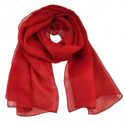 BLOOD RED Glamorous Quality Plain Self Colour Chiffon Scarf 55cm x 150cm