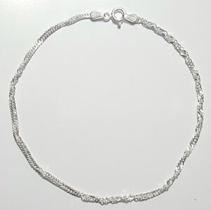 Singapore Link Bracelet 8 inch Long 925 Sterling Silver  2 mm wide Made in Italy