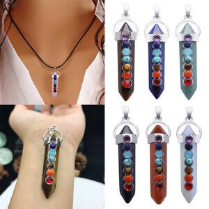Point Stunning Necklace Chakra Healing Pendant Quartz Bead Crystal Gemstone