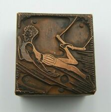 Antique Circus Trapeze Wood Copper Printing Press Block Stamp Ink Letterblock