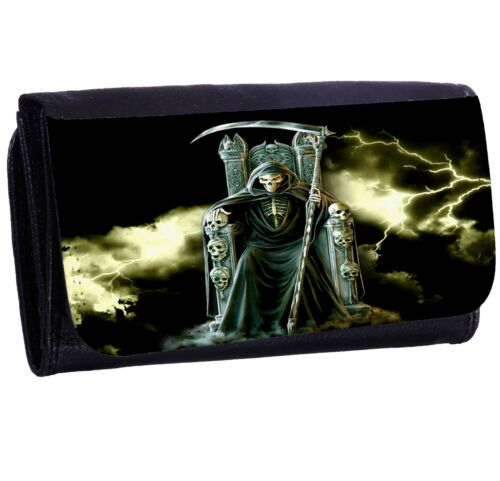 Grim Reaper Lightning Bi-fold Zipper Bill /& Card Holder Long Wallet