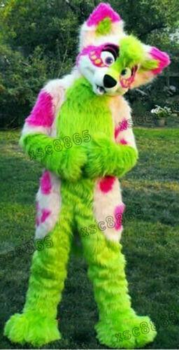 Long Fur Fox Green Husky Dog Mascot Costume Suits Cosplay Party Dress