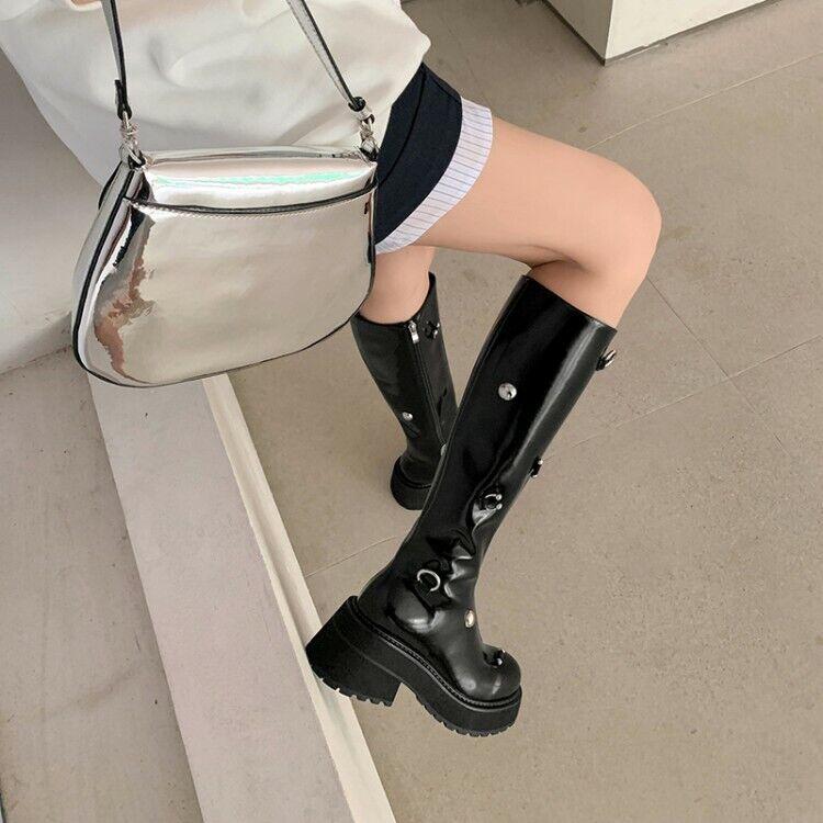 Womens Vogue Leather Studs Platform Block Heel Knee High Knight Boots Shoes SUNS
