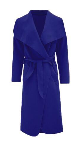 Womens Waterfall Belted Italian Drape Long Trench Coat Ladies Blazer Jacket 8-22