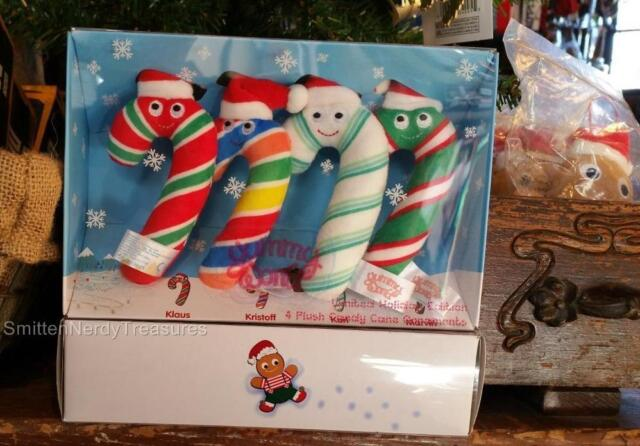 "kidrobot YUMMY WORLD 4pc 4"" CANDY CANE ORNAMENT HOLIDAY PLUSH Boxed Set LTD Ed"