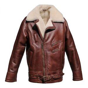 sheepskin jacket vandamm men 39 s biker leather bomber ebay. Black Bedroom Furniture Sets. Home Design Ideas