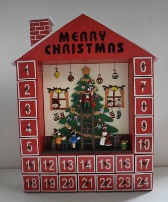 Kurt Adler D1723 Wooden Advent Calendar Christmas Tree 24 Wood Ornaments