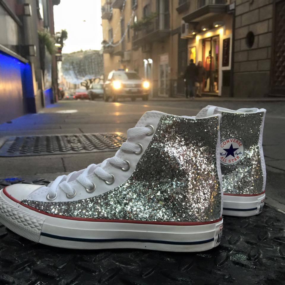 Converse all Star Bianche personalizzate Clean con tessuto Glitter argento Clean personalizzate 3142f3