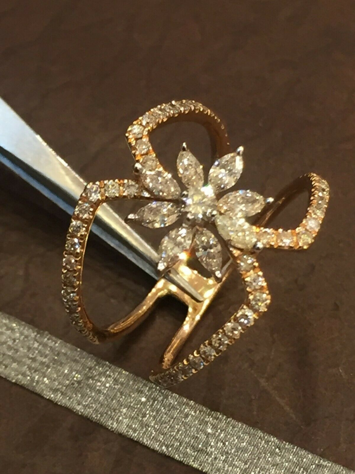 0.80 Cts Round Marquise Cut Pave Diamonds Engagement Ring In Hallmark 14K gold