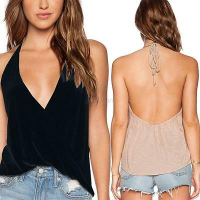 Summer Halter Backless T-shirts Women's Casual V-neck Vest Tank Top Blouse SML
