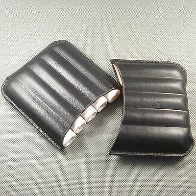 Black Genuine Leather MINI Holds 5 Cigars Cigar Case With Box