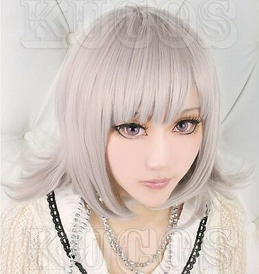Dangan-Ronpa Nanami Chiaki Light Silver Purple Cosplay Wig Free wig cap 8467