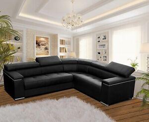Modern Corner Sofa SILVA 1 Black Faux Leather Storage Pull Out Bed RIGHT Corner | EBay