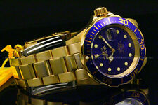 NewInvicta Pro Diver 18K Gold Plated 40MM Blue Dial Gold Tone S.S Bracelet Watch