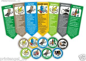 5 Set Aufkleber für Mülltrennung Mülltonne Abfalltonne Mülleimer Abfalleimer