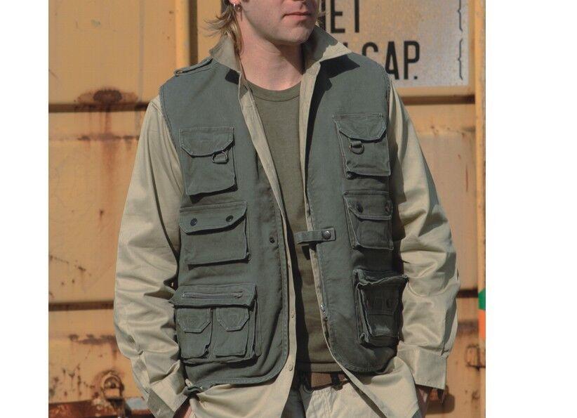 Hunting Vest Fishing Outdoor Moleskin Hiking Olive Size 3XL