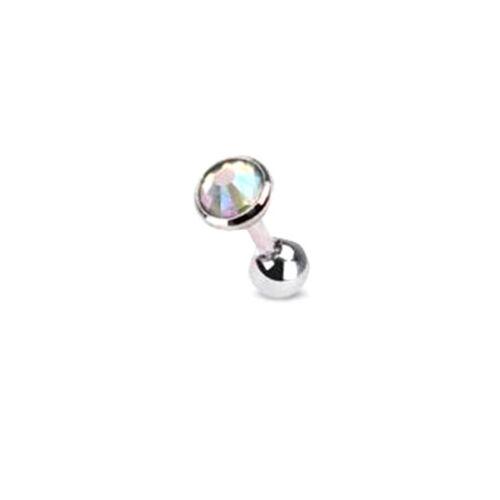 2X 3//4//5mm Gem Ball Bar Barbell Ear Cartilage Tragus Helix Stud Earring Piercing
