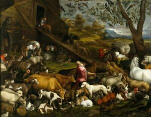 Animals-Entering-Noah-s-Ark-Jacopo-Bassano-Fine-Art-Print-on-Canvas-Giclee-Small