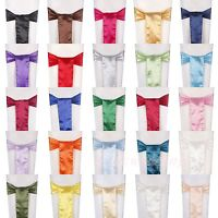 """100PCS Satin Chair Cover Sashes Bow Wedding Party Banquet Decor 6""""x108"""" COLORS"""