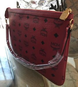 Details About Authentic Mcm Luggage Red Leather Pouch Clutch Bag Wallet New Rare