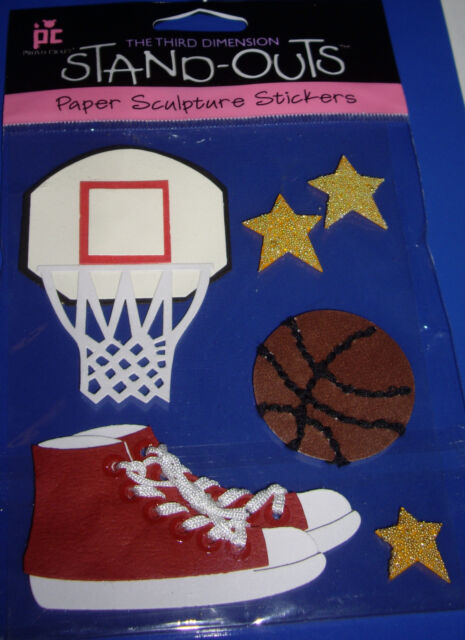 Net Ball Shoes PROVO CRAFT Paper Stickers STAND-OUTS NEW 6 pc  BASKETBALL