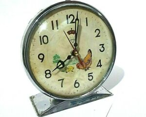 Vintage-Animated-chicken-hen-table-Clock-Diamond-produced1975-Works-Collectibles