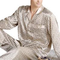 Men's Luxury Silk Satin Pajamas Set Long Sleeve Night Sleepwear Loungwear Plus +