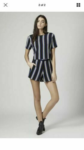 Blue and White Vertical Striped Crop Top SIZE 8-14 Ex TOPSHOP PETITE Black