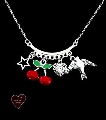 ROCKABILLY RETRO CHERRY LOVE NECKLACE.STERLING SILVER CHAIN OPTION.FREE GIFT BOX
