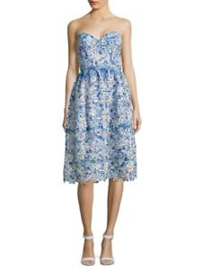 Parker bluee White Strapless Abstract Knee Length Azalea Dress Size S NEW  528
