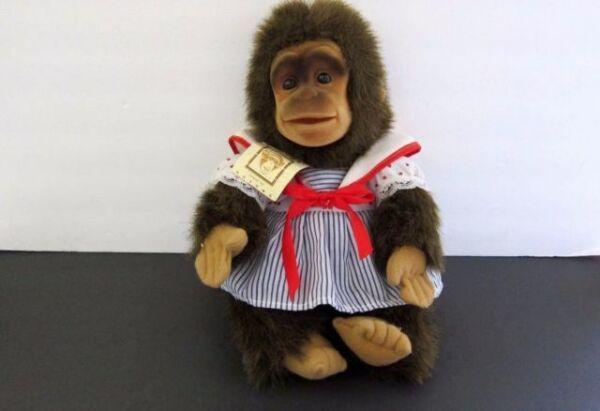 Hosung Monkey life like Chimp Hand Puppet Plush 1980/'s Velcro wrap around arms