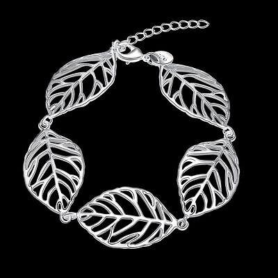 925 Silver Leaf Bracelet Bangle - Uk Seller -