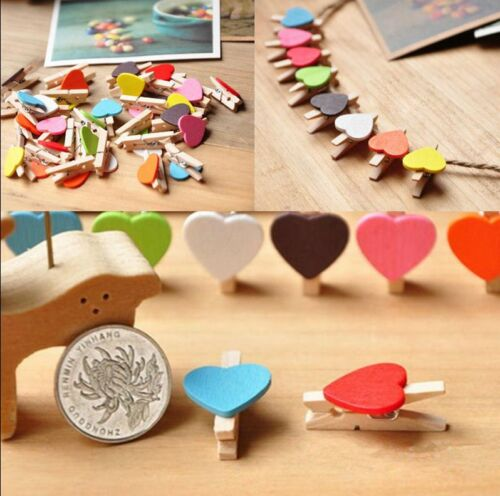 10Pcs Heart Shaped Photo Clips Room Wedding Decor Supply Cool Craft Wooden Pegs,