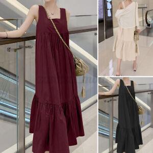 Oversize-Femme-Robe-Col-Carre-Sans-Manche-Coton-Simple-Loose-Dresse-Maxi-Plus