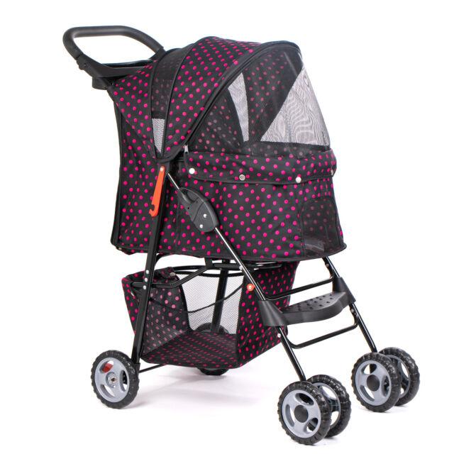 Pink 4 Wheels Pet Stroller Folding Dog Cat Puppy Carrier Strolling Cart  Travel 5