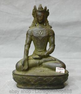 """8 """"Ancien Bouddhisme   Bronze Rouge Tibétain Bouddha  de Longévité Statue"""
