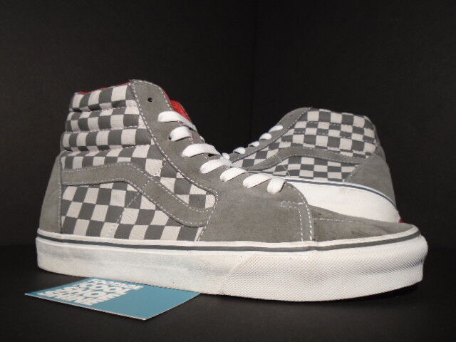 VANS SK8-HI LX VAULT VAULT VAULT SAMPLE CHECKERBOARD grau Weiß rot LEATHER LINING NEW 9 645e57