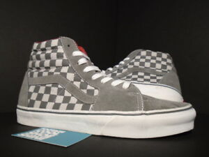 f4edfe9a Details about VANS SK8-HI LX VAULT SAMPLE CHECKERBOARD GREY WHITE RED  LEATHER LINING NEW 9