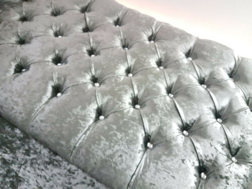 SALE  4FT6 DOUBLE CRUSHED VELVET DIAMOND QUILTED CHESTERFIELD HEADBOARD