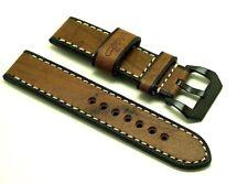 22mm Vintage Brown Quality Wood Grain Leather Watch Strap Black PRE-V Buckle