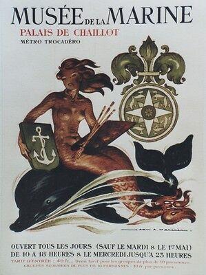 """""""MUSEE DE LA MARINE"""" Affiche origin. entoilée années 50 Jean A. MERCIER 36x49cm"""