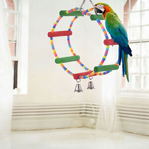 Bird-Colorful-Wooden-Ladder-Parrot-Macaw-Bell-Swing-Parrot-Bites-Climb-DSUK