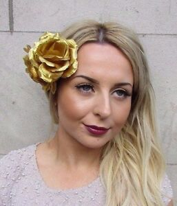 33a757ff67 Large Double Gold Rose Flower Hair Clip Rockabilly 1950s Fascinator ...
