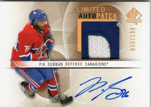 2012-13 SP AUTHENTIC LIMITED GAME USED PATCH AUTO /100 PK SUBBAN - CANADIENS
